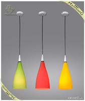 2015 Hot sale modern yellow hanging light fixtures glass pendnat lamp for dining room