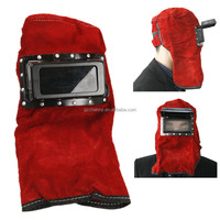 New Arrival Best Price Summer Red Cowhide Leather Face Neck Protected Lens Glasses Welding Hood Helmet Mask Overhead