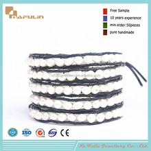 [Nafulin]New products 2015 fashion wrap bracelets leather treaty personalized freshwater pearl bracelet
