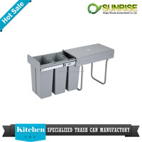 household plastic pull out kitchen cabinet waste bin