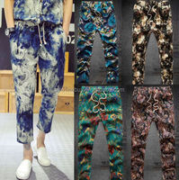 10 Pattern Men's New Exotic Drawstring Waist Floral Casual Mid Rised Capri Pants