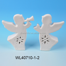 2015 popular ceramic ornament,white porcelain angel figurine for led light