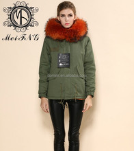 Factory direct selling wholesale unisex parka for winter army green cotton shell synthesis ling parka coat orange color