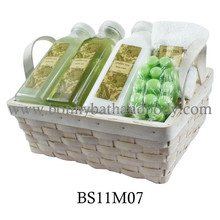 Skin Care Bath Gift Items Green Tea With Wooden Basket(BS11M07)
