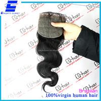 Elegant queen virgin Brazilian hair body wave natural color 4*4 lace closure