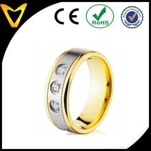 Ali Express Hot Selling Three Stones 14K Gold Plated Titanium Band Ring