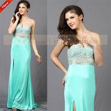 elegante cy50653 menta verde vestido de noche 2014 larga túnica de de velada
