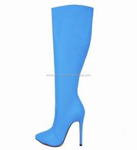 De china venta al por mayor moda del alto talón sobre la rodilla botas para las damas