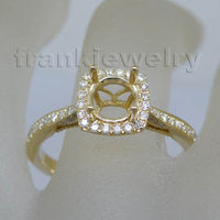 Latest Gold Finger Ring designs Round 6.5mm Solid 14Kt Yellow Gold Diamond Semi mount Wedding Ring WU063