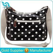 Laminated Canvas Polka Dot Girls Fashionable Shoulder School Bags 2015
