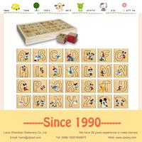 Handwriting lower/upper case Alphabet stamp set wooden foam rubber stamp wood case