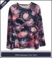 Nova moda de mangas compridas impressão allover design t-shirt