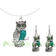 antique vintage Turquoise owl pendant circle chocker collars wedding Bridal women necklace earrings jewelry sets x4095