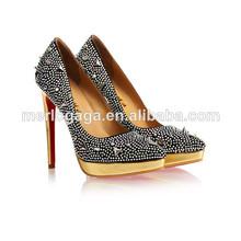 China fabrica de calzado de moda las mujeres del cuero genuino de 2014