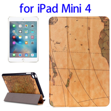 High quality map design 3 Folding Flip Smart Leather case for ipad mini 4 flip cover