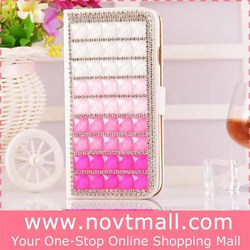 Luxury Color Changing Rhinestone Flip Stand Cover Case for Iphone 6, Leather Mobile Phone Case with Card Slots for Iphone 6