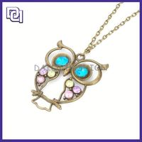 blue crystal necklace necklace ,new alloy pendant necklace, owl shape necklace unique design jewelry
