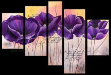 Pine Wood Framed Handmade Purple Flower Oil Painting Group