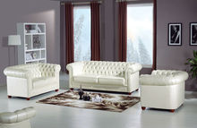 JR1311 Luxury antique chesterfield leather sofa set/studded white thick grain leather living room furniture