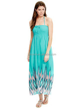 Hot Style Sleeveless Ikat Print Maxi String Women Dress with Cool Comfort