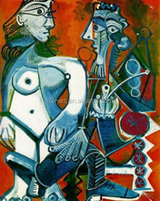 Canvas art Pablo Picasso paintings Standing female nude and man with pipe