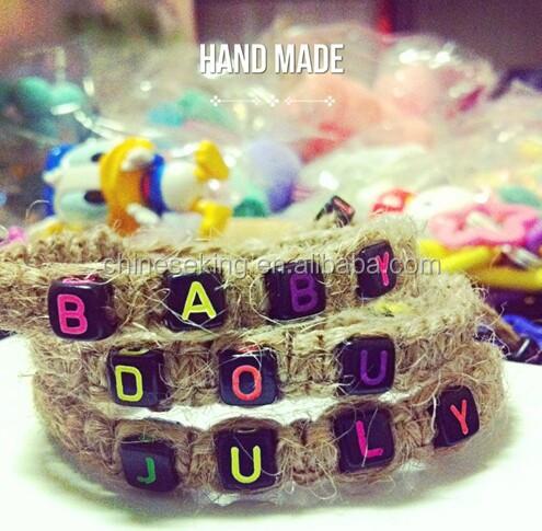 alphabet initial letter beads hand woven bracelet DIY letter beads woven bracelet custom letter bead braided bracelet handmade friendship bracelet from Miss Luv.jpg