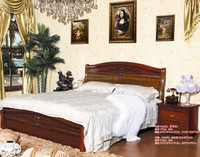 cheaper price solid wood high quality bed room furniture bed with bedside