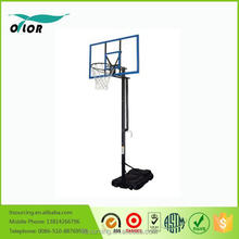 Good price best quality height adjustable movable portable 10' basketball stand with blue glass board