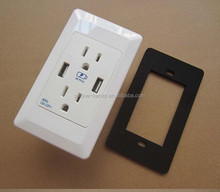 110v AC double usb ports electrical wall outlet 3 way plug socket US Canada market