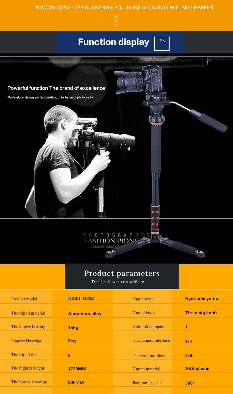 QZSD-Q238 Panhead handheld camera monopod digital and video yunteng berno OBO camera monopod photography accessories