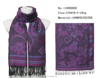 fashion purple flower jacquard woven scarf muslim hijab