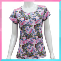 OEM Fashion woman Colorful Short Sleeve Round knitted T-shirt with Flower Printed