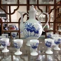 Hot sale Ceramic bone China wine liquor cup with pot suit