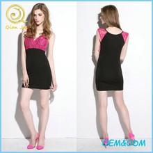 Women Tight Lace Top Mini Skirt Deep V Neckline Sexy Dress