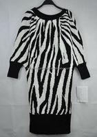 2014 Wholesale Fashion Black And White Fringe Patternnew Fashion Wool Winter Dress