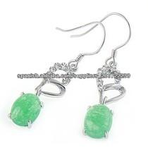925 pendientes de jade de plata
