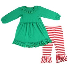 2015 new latest summer design solid ruffle dress and stripe ruffle pants for girls