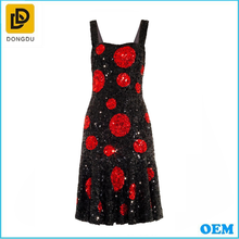 2015 Wholesale elegant black and red sleeveless casual dress for women