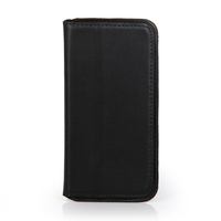 Flip black cowhide leather wholesale cell phone case for iphone 6