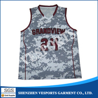 2015 Sublimation custom basketball jersey logo designs 100% Polyester reversible camo basketball uniform