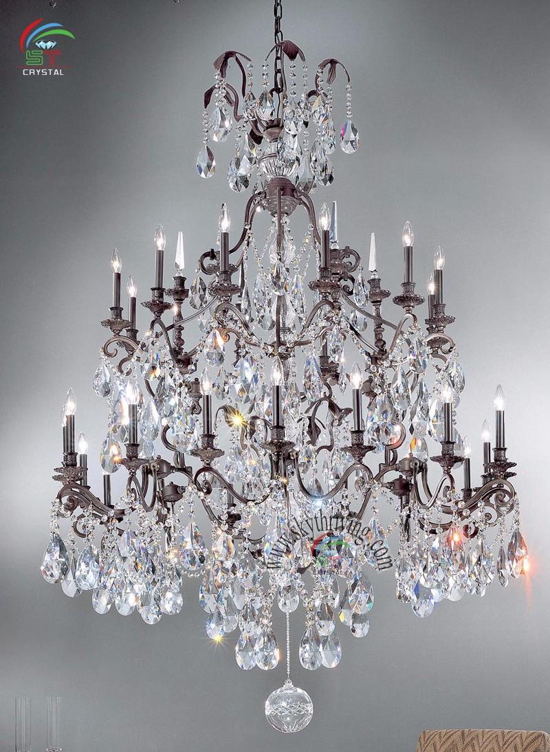 Large Wrought Iron Crystal Chandelier Antique Bronze Color