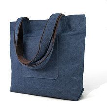 Newly Arrival Fashion Folding Large Blue Canvas Fabric Shopping Bag