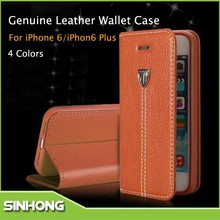 Genuine Leather Wallet Cell Phone Case For iPhone 6,Wholesale Cell Phone Case