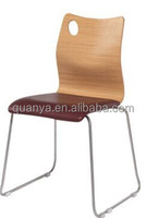 New Designed Aminate Faced Plywood Shell Chair with Bent Stainless Steel for Dining