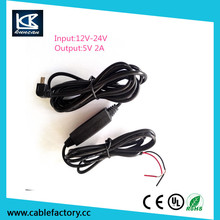 12vdc to 24vdc dc to dc converter 12v-24v navigation gps charging cable with mini 5 pin