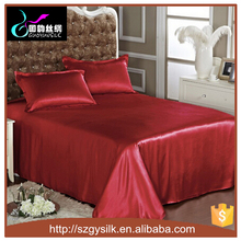 wholesale 100% mulberry red silk bed flat sheets
