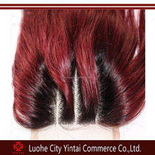 Ombre Lace Top Closure 100% Remy Brazilian Virgin Human Hair,brazilian 3 part silk base lace closure