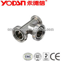 Sanitary stainless steel equal tee stainless with thread