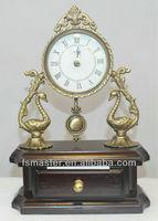 top quality unique antique classic wooden copper desk clock graceful wooden desk clock