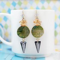 hot selling 14k gold jewelry wholesale indian gold jewelry emerald green stone earring fashion women crystal earring